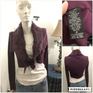 Purple Shrug with Rabbit Fur